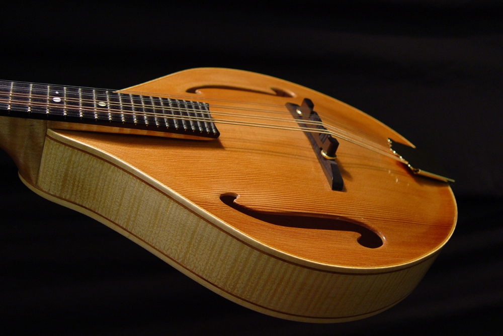 front view of the body of michael mccarten's AF style mandolin model