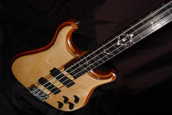 front view of the body of michael mccarten's double cutaway electric bass model