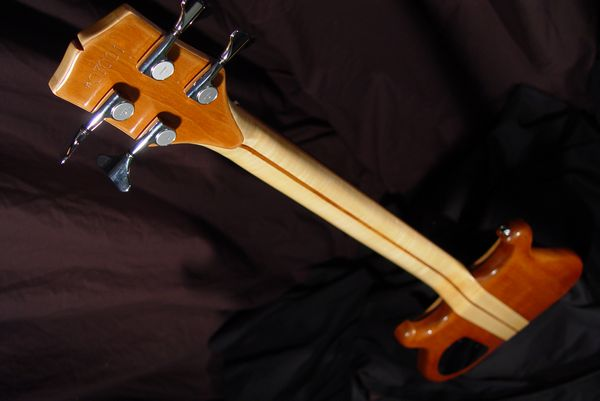 rear top down view of michael mccarten's double cutaway electric bass model