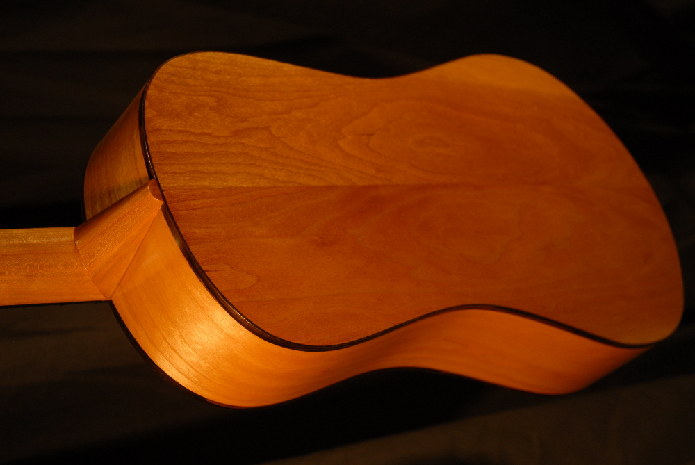 rear view of the body of michael mccarten's 10 string baroque guitar model