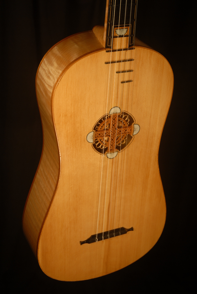 detail view of the body michael mccarten's 10 string baroque guitar model