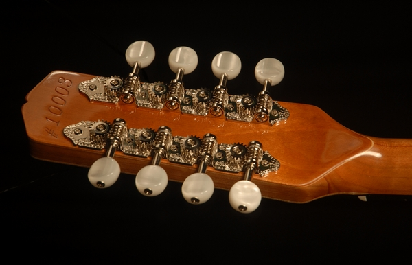rear view of the headstock of michael mccarten's AO style mandolin model