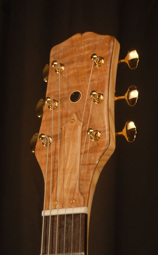 front view of the headstock of michael mccarten's DC13T thinline double cutaway electric guitar model