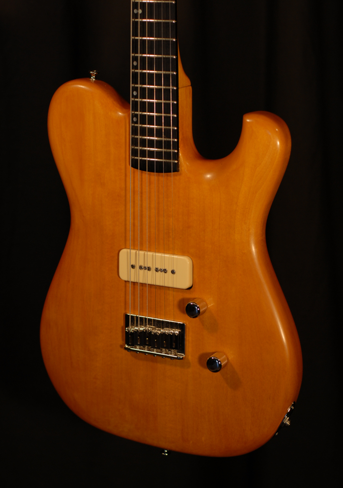 front view of the body of michael mccarten's mccarten's Telemac single cutaway electric guitar model