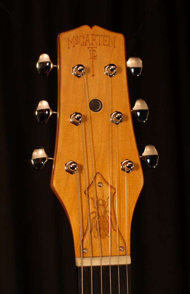 front view of the headstock of michael mccarten's Telemac single cutaway electric guitar model