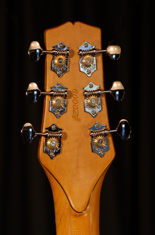 rear view of the headstock of michael mccarten's mccarten's Telemac special P single cutaway electric guitar model